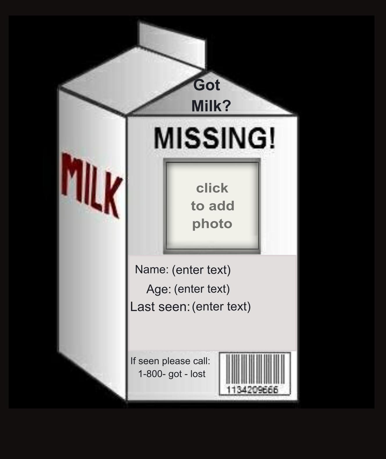 Milk carton missing template